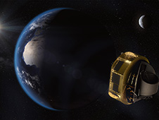 This artist's concept shows the European Space Agency's ARIEL spacecraft on its way to Lagrange Point 2