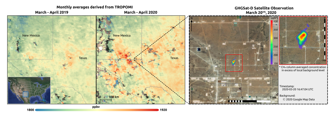 Methane concentrations over the Permian Basin