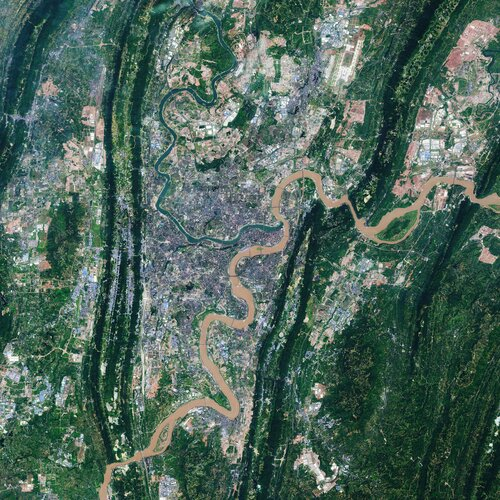 Chongqing, the largest municipality in China, is featured in this Copernicus Sentinel-2 image.